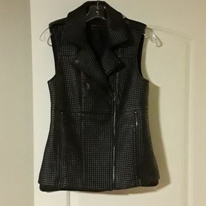 BCBG MAXAZRIA QUILTED FAUX LEATHER VEST